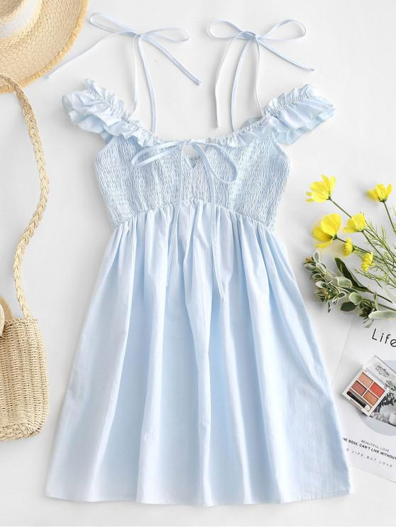 trendy ZAFUL Ruffles Cold Shoulder Smocked Mini Dress - LIGHT BLUE S