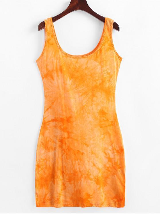 unique U Neck Tie Dye Sheath Dress - BEE YELLOW S