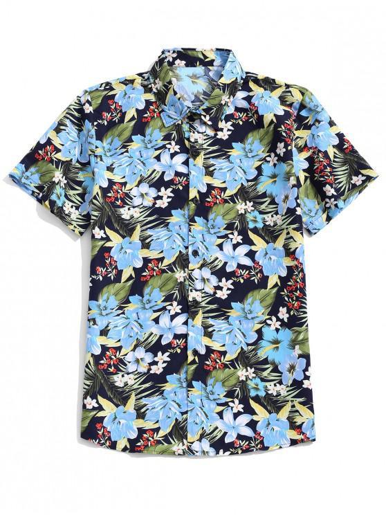 Camisa de playa tropical con estampado de hojas de flores de Hawaii - Multicolor-E 3XL