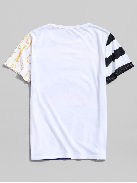 T-Shirt Casuale Grafica a Graffiti con Collo Rotondo - Giallo Sole 2XL Mobile