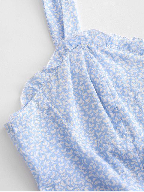 ZAFUL Gebundener Volant Schulter Kittel Mini Kleid - Hellblau L Mobile