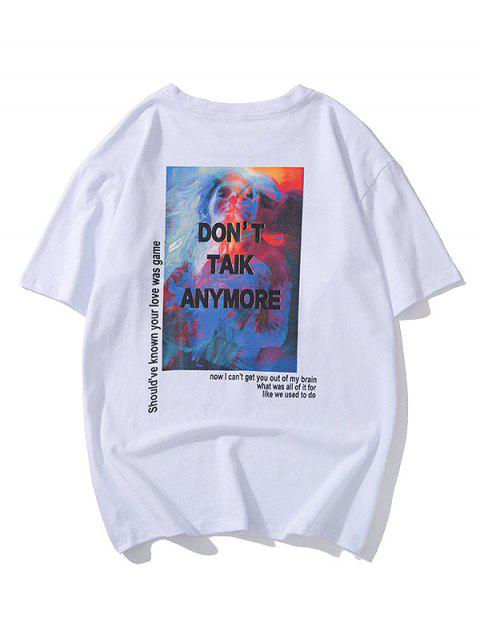 trendy Painting Graphic Letter Print Short Sleeves T-shirt - WHITE L Mobile
