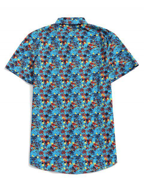 trendy Short Sleeves Painting Print Button Shirt - TURQUOISE M Mobile