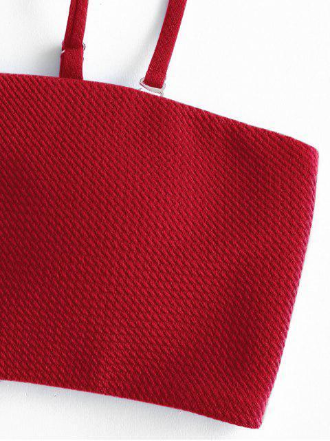 lady ZAFUL Textured Bandeau Bikini Set - RUBY RED S Mobile