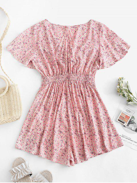buy ZAFUL Tie Front Cut Out Floral Romper - FLAMINGO PINK S Mobile