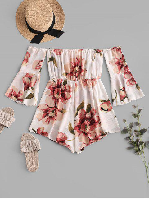 chic ZAFUL Fluted Sleeve Floral Off The Shoulder Romper - WHITE ONE SIZE Mobile