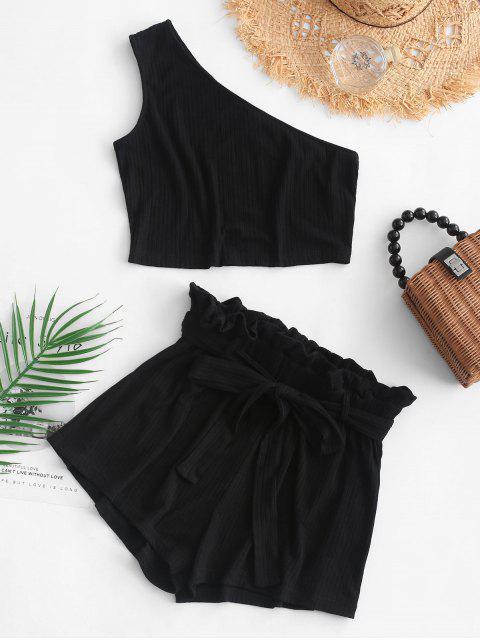 womens ZAFUL Ribbed One Shoulder Paperbag Shorts Set - BLACK S Mobile