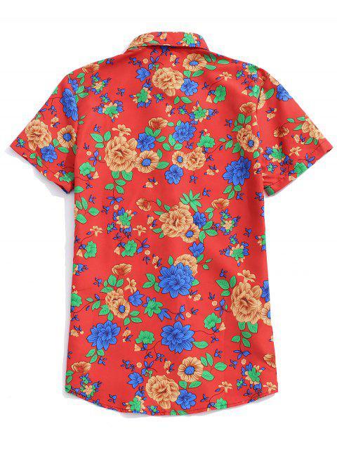 Camisa de Manga Corta y Estampado de Flores - Rojo Lava L Mobile