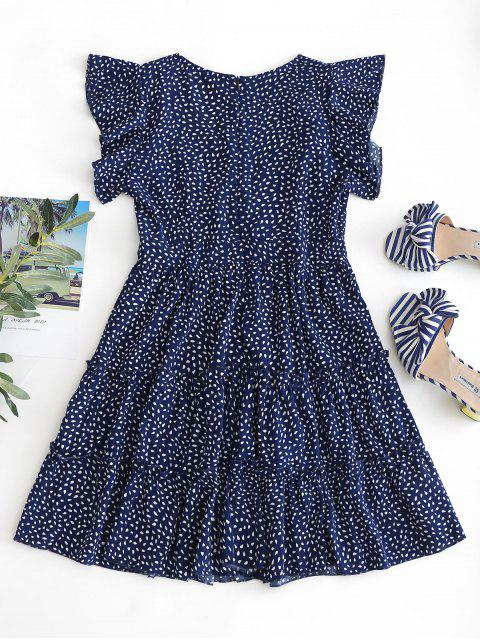 lady Raindrop Print Ruffles Mini Dress - DARK SLATE BLUE S Mobile