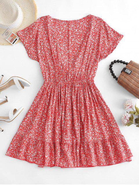 trendy Floral Tie Front Mini Dress - RED M Mobile