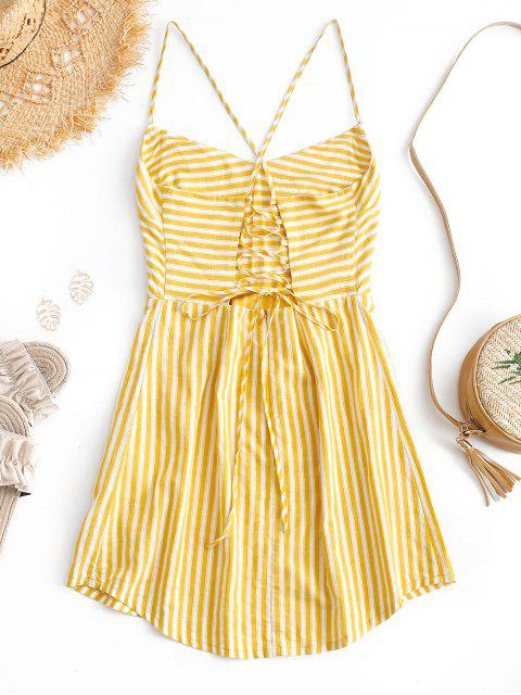 shops ZAFUL Lace-up Striped Spaghetti Strap Mini Dress - BEE YELLOW S Mobile
