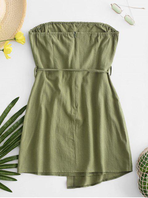 women's Belted Buttoned Overlap Tube Dress - GREEN XL Mobile