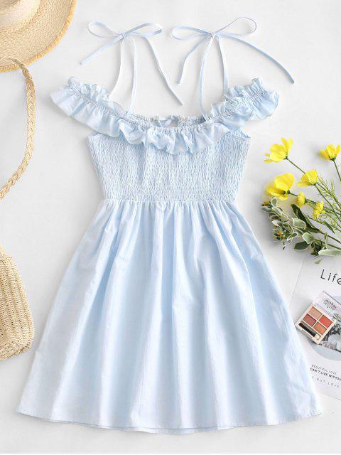 trendy ZAFUL Ruffles Cold Shoulder Smocked Mini Dress - LIGHT BLUE S Mobile