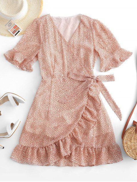 trendy Ditsy Floral Ruffles Wrap Mini Dress - WHITE L Mobile
