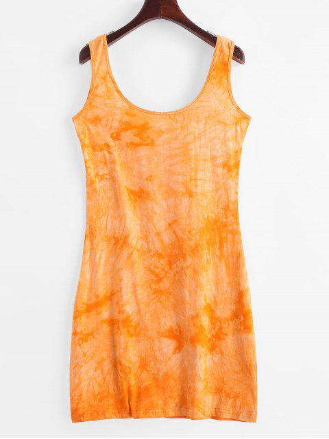 fancy U Neck Tie Dye Sheath Dress - BEE YELLOW L Mobile