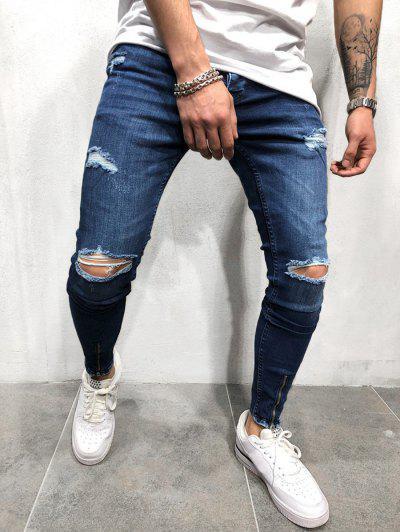 0c7e562bbc4 Zipper Design Destroy Wash Long Jeans - Lapis Blue S ...