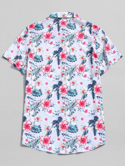 93cb633b ... Hawaii Tropical Plant Flower Print Beach Shirt - Crystal Cream L