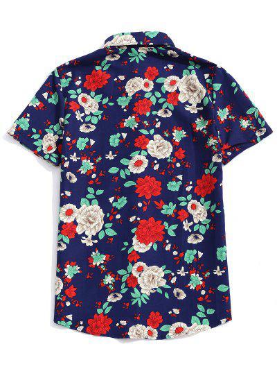 45ce75718d ... Camisa De Mangas Cortas Con Estampado Floral De Plantas - Cadetblue L