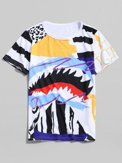 Leopard Graffiti Painting Print Round Neck T-shirt - Sun Yellow M