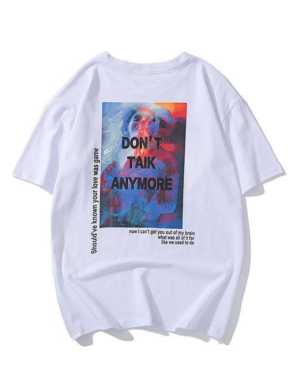 Painting Graphic Letter Print Short Sleeves T-shirt, White
