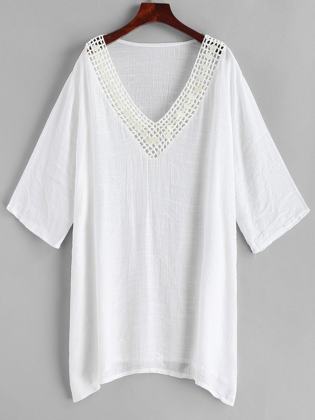 V Neck Crochet Panel Slit Cover-up, White