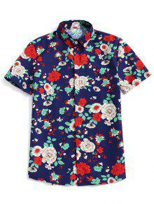 زهرة النبات طباعة قميص بأكمام قصيرة زر - طالبا الأزرق M