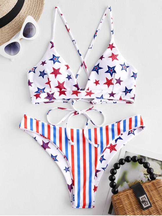 trendy ZAFUL American Flag Crisscross Reversible Bikini Swimsuit - MULTI-A L