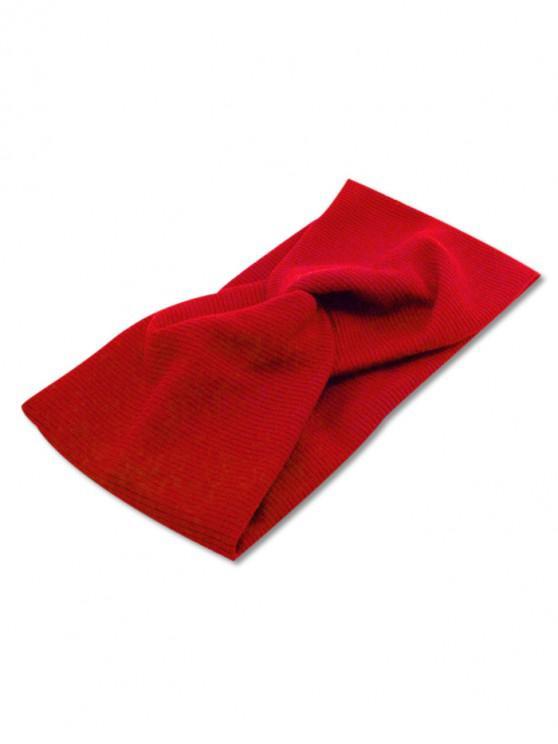 Bandeau Elastique Croisé en Couleur Unie - Rouge Vineux