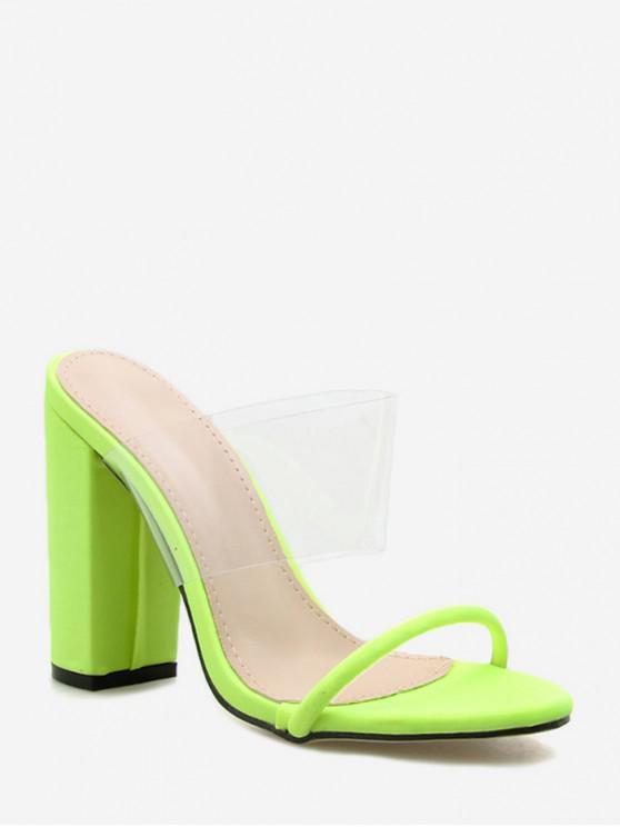 Sandales à Talon Haut Translucide en PVC - Vert EU 37