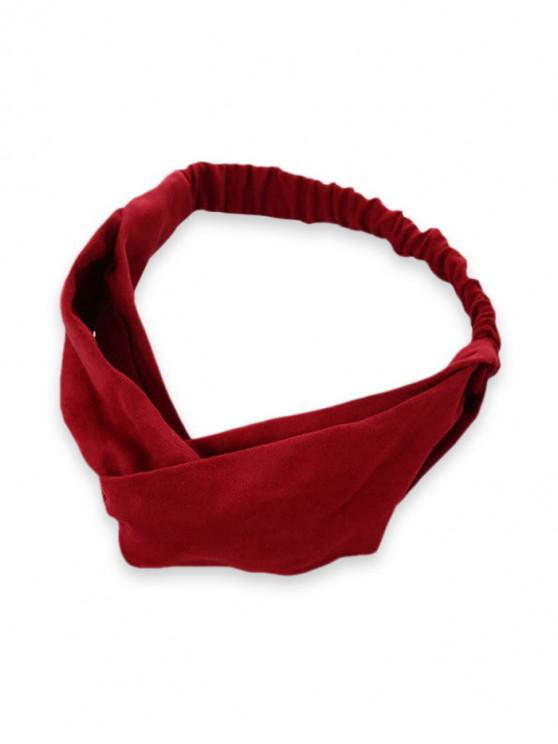 hot Solid Color Decoration Elastic Headband - RED WINE