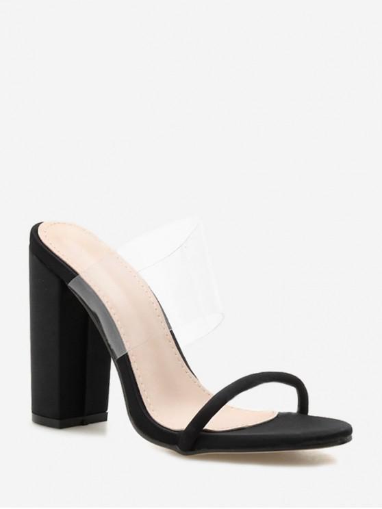 Sandales à Talon Haut Translucide en PVC - Noir EU 42