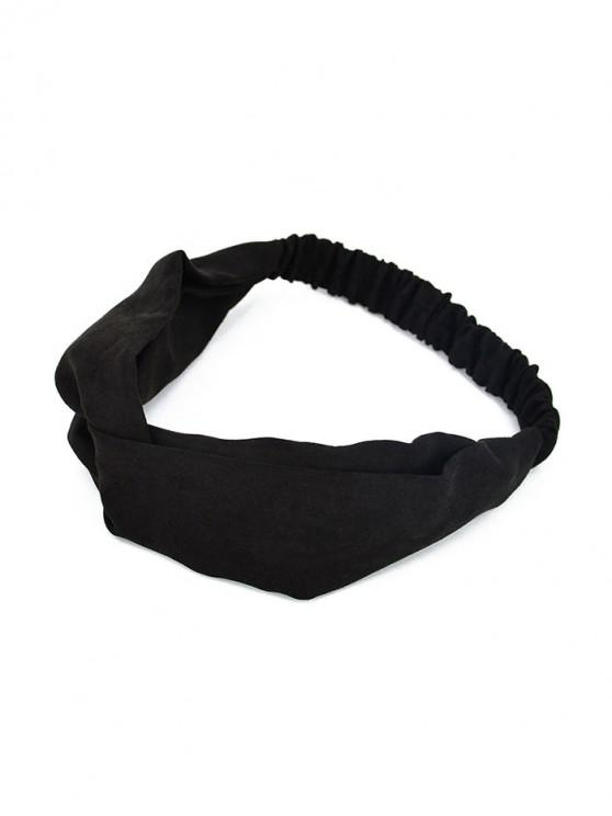 new Solid Color Decoration Elastic Headband - BLACK