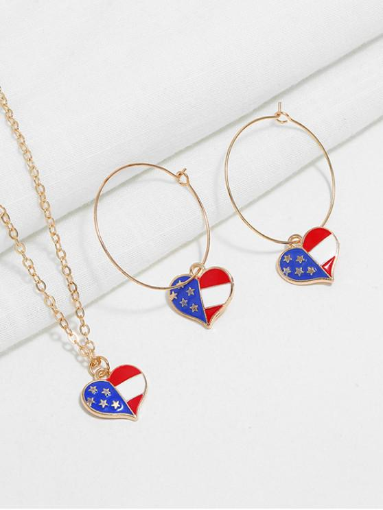 online American Flag Necklace and Earrings - MULTI-B