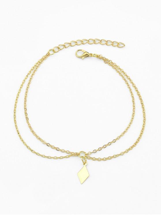 Playa minimalista rombo cadena tobillera - Oro