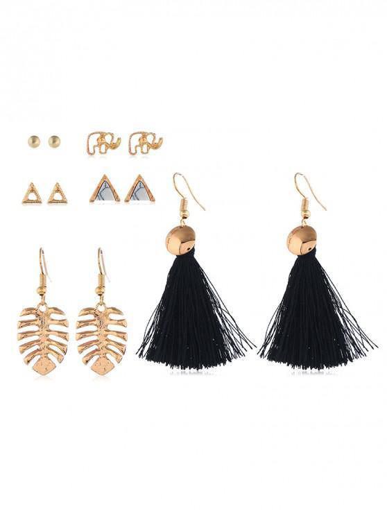 latest Tassel Geometric Drop Earrings Set - MULTI-C