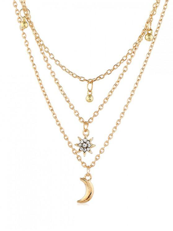 women Multilayered Moon Star Chain Necklace - GOLD