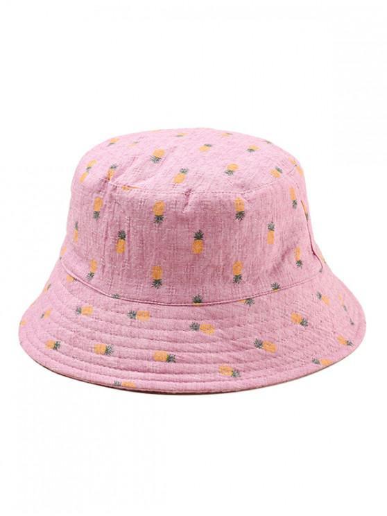 new Pineapple Print Leisure Bucket Hat - ROSE RED
