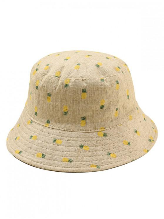 fashion Pineapple Print Leisure Bucket Hat - TAN