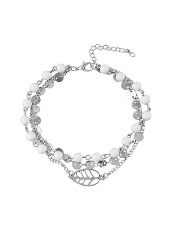 affordable Beach Beading Multilayered Chain Anklet - SILVER