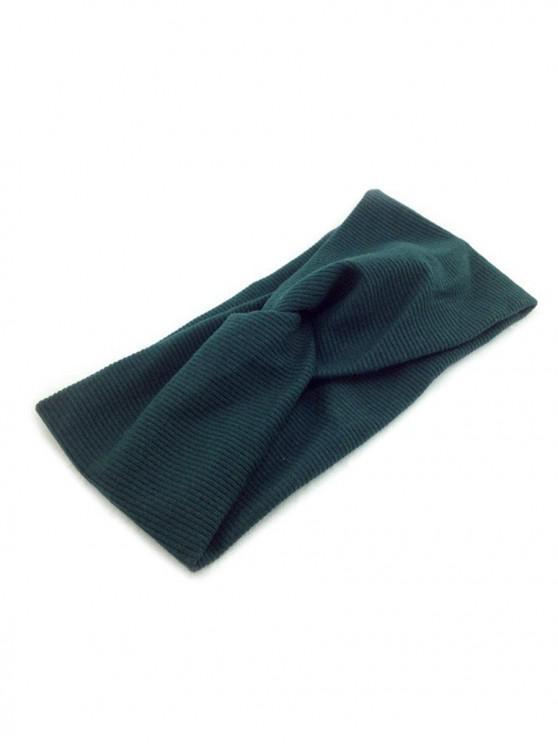 Bandeau Elastique Croisé en Couleur Unie - Bleu Verdâtre