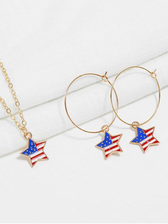 trendy American Flag Necklace and Earrings - MULTI-A