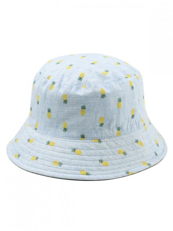 قبعة دلو طباعة الأناناس - روبن البيض الأزرق