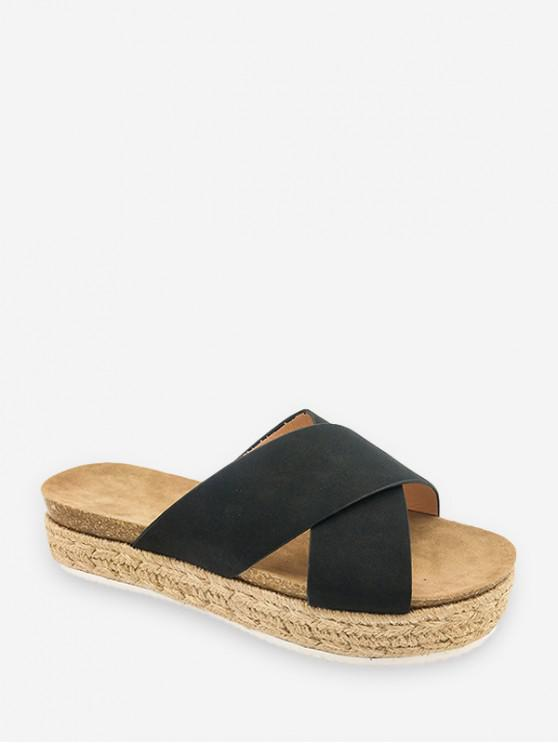 outfits Cross Strap Platform Espadrille Slides - BLACK EU 41