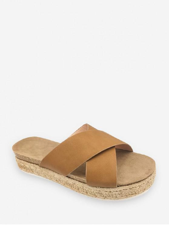 ladies Cross Strap Platform Espadrille Slides - LIGHT BROWN EU 38