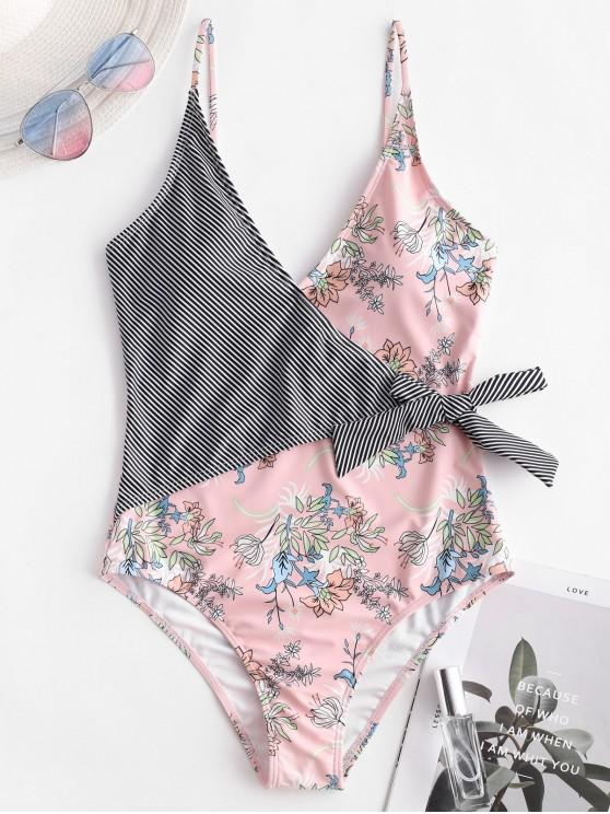 hot ZAFUL Knot Striped Plant Print One-piece Swimsuit - ROSE L