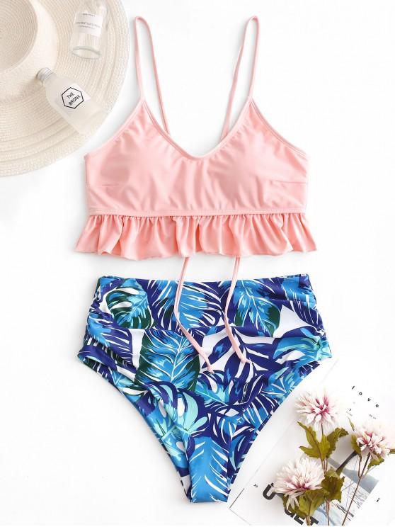 shop ZAFUL Palm Lace Up Blouson Tankini Swimsuit - LIGHT PINK XL