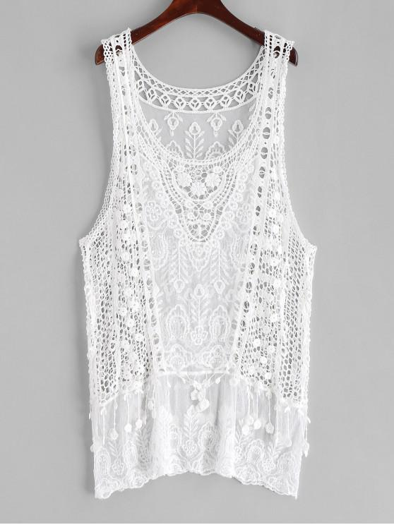 chic Drop Armhole Longline Crochet Cover Up - WHITE ONE SIZE