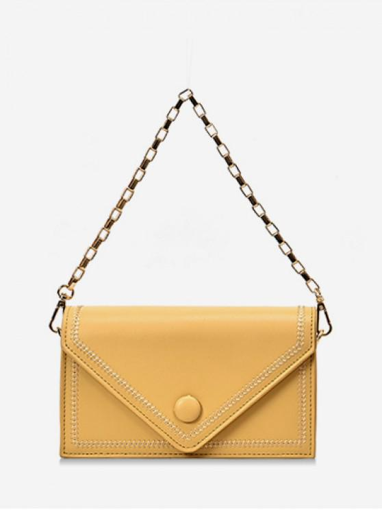 latest Chain Simple Solid Square Shoulder Bag - YELLOW