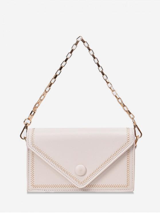 ladies Chain Simple Solid Square Shoulder Bag - WHITE