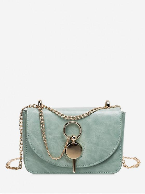 ladies Key Buckle PU Leather Crossbody Bag - DARK SEA GREEN